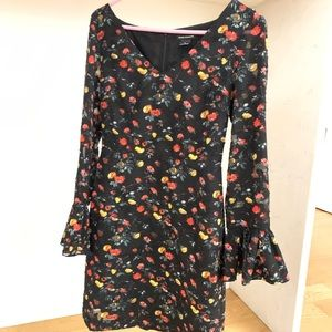 Club Monaco Floral cocktail dress with fun sleeves